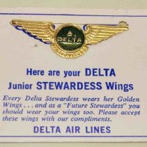 Image of Delta Junior Stewardess Kiddie Wings and Card