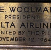 Image of C.E.Woolman, President Delta Air Line painting plaque