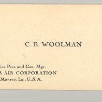 Image of C.E. Woolman's Business Card, Side 1