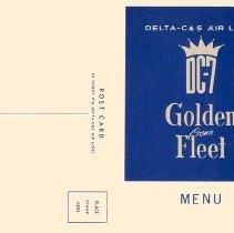 Image of Delta-C&S DC-7 Golden Crown Fleet Menu/Postcard, cover