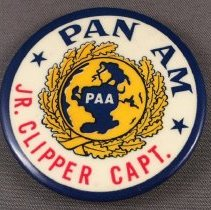 Image of Pan Am Jr. Clipper Captain Button - ca. 1957-1970