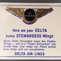 Image of Delta Junior Stewardess Kiddie Wings - ca. late 1960s-early 1970s