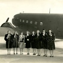 Image of C&S Stewardess Group with DC-3 - ca. 1941-1945