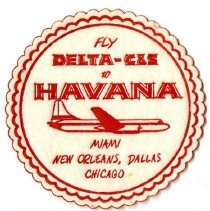Image of Fly Delta-C&S to Havana Coaster - ca. 1953-1955