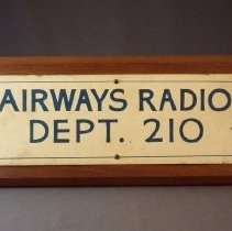 Image of Airways Radio Dept. 210 Sign - ca. 1940s