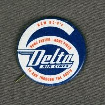 Image of Delta DC-6 Promotional Button - 1948