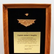 Image of Plaque, Presented to Capt. Jack Daughtry for work with Republic Airlines formation - 1981