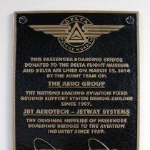 Image of Passenger Boarding Bridge Plaque
