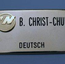Image of Northwest Airlines Flight Attendant Name Badge
