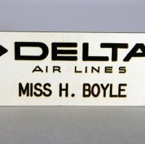 Image of Delta Ticket Agent Name Badge - ca. 1965-1969