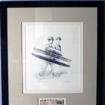 Image of Framed Print of The Wright Brothers and Mail with Orville Wright's Signiture  - 1995