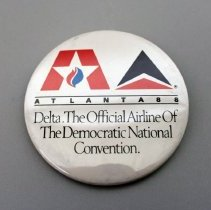 Image of Delta The Official Airline of the Democratic National Convention Promotional Button - 1988