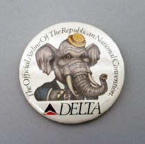 Image of Delta The Official Airline of the Republican National Convention Promotional Button - 1988