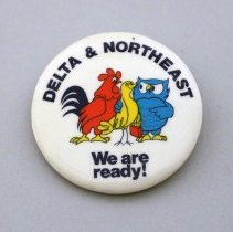 Image of Delta & Northeast We Are Ready!  Promotional Button - 1972