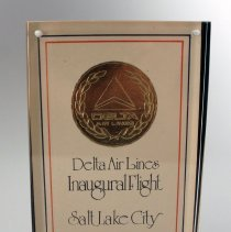 Image of Delta Salt Lake City Inaugural Plaque - 04/28/1980