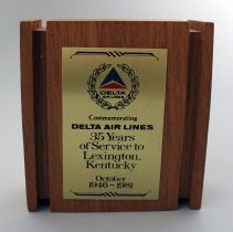 Image of Delta 35 Years of Service to Lexington, Kentucky Plaque - 06/01/1981
