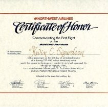 Image of Northwest Airlines Boeing 747-400 Inaugural Certificate - 02/09/1989