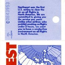 Image of Northwest Airlines Boeing 747-400 Inaugural Boarding Pass, MPS-PHX. side 2