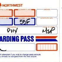 Image of Northwest Airlines Boeing 747-400 Inaugural Boarding Pass, MPS-PHX - 02/09/1989