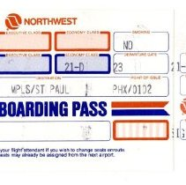 Image of Northwest Airlines Boeing 747-400 First Day, Second Flight Boarding Pass, PHX-MSP - 02/09/1989