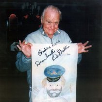 "Image of Comedian Richard (Red) Skelton with his ""Delta Pilot"" drawing - ca. 1996"