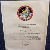Image of NASA Certificate of Authenticity - 1995
