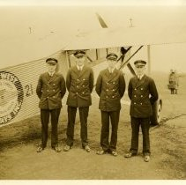 Image of Northwest Airways Pilots with Ford Trimotor Ship 21 - ca. 1928-1931