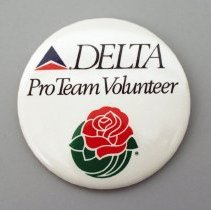 Image of Delta ProTeam Volunteer Tournament of Roses Promotional Button - 01/1991