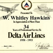 Image of Whit Hawkins' Certificate of Appreciation for Delta Service - 1993