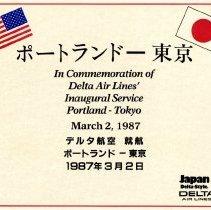 Image of Delta Portland-Tokyo Inaugural Flight Certificate - 03/02/1987