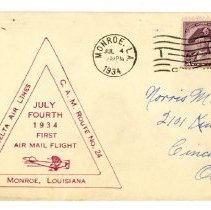 Image of Delta C.A.M. 24 Monroe First Flight Cover - 07/04/1934
