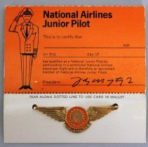 Image of National Airlines Junior Pilot Kiddie Wings with Card - ca. 1968