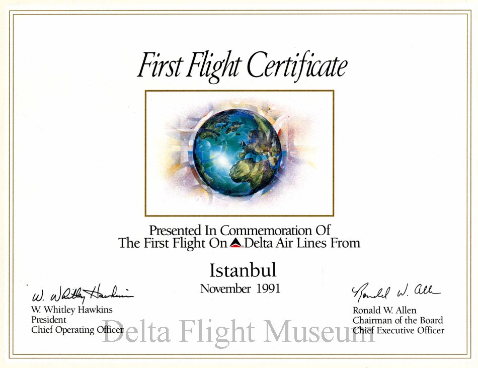 Delta First Flight From Istanbul Certificate 111991