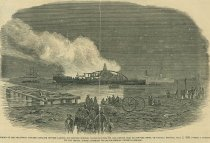 Image of Burning of Transport Steamer Cataline off the Landing at Fortress Monroe
