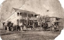 Image of 1982.6.2 - Joseph Daly Beer Wagons on Curry St., c.1890