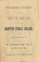 Image of 1953.9.1 - Program: Hampton Female College cornerstone laying ceremony
