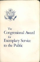 Image of Cover of Congressional Award ceremony program.