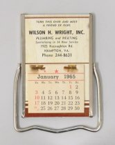 Image of 2015.21.5 - Promotional calendar for Wilson H. Wright, Inc. Plumbing & Heating