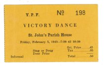 Image of 2015.9.24 - Ticket for Victory Dance at St. John's Church Parish House
