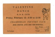 Image of 2015.9.25 - Ticket for Valentine Dance at Chamberlin Country Club