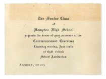 Image of 2015.9.30 - Invitation for Hampton High School 1943 Commencement Exercises
