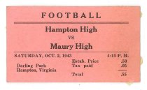 Image of 2015.9.31 - Ticket for Hampton vs. Maury football game, 1943