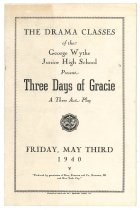 Image of 2015.9.7 - Program for Wythe Junior High School production of Three Days of Gracie