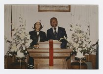 Image of CC2015.20.5 - Rev. Dr. Merlin Lee Ford and Mrs. Bessie Carter Ford inside Little England Chapel