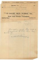 Image of 1990.7.102 - Bill on Sayre Iron Works letterhead dated 17 February 1912