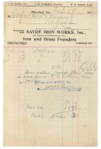 Image of 1990.7.103 - Bill on Sayre Iron Works letterhead dated 17 February 1912
