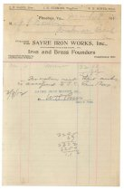 Image of 1990.7.104 - Bill on Sayre Iron Works letterhead dated 9 March 1912
