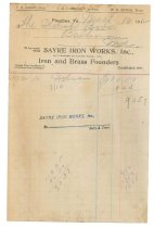 Image of 1990.7.105 - Bill on Sayre Iron Works letterhead dated 16 March 1912