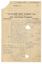 Image of 1990.7.112-116 - Sayre Iron Works accounting papers