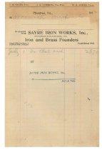 Image of 1990.7.118 - Receipt on Sayre Iron Works letterhead